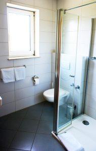 Blick in eine Dusche mit WC.